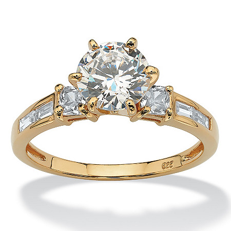 2.14 TCW Round Cubic Zirconia 18k Gold over Sterling Silver Engagement Anniversary Ring at PalmBeach Jewelry