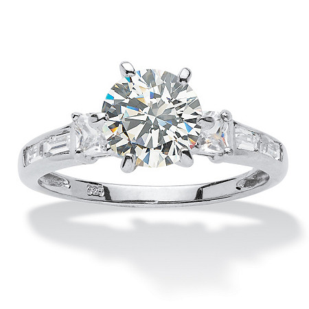 2.14 TCW Round Cubic Zirconia Platinum over Sterling Silver Engagement Anniversary Ring at PalmBeach Jewelry