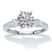 2.14 TCW Round Cubic Zirconia Platinum Over Sterling Silver Engagement Anniversary Ring ONLY $29.99