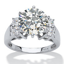 4.66 TCW Round Cubic Zirconia Engagement Anniversary Ring in Platinum over Sterling Silver