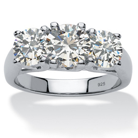 4.25 TCW Round Cubic Zirconia Platinum over Sterling Silver Three-Stone Anniversary Ring at PalmBeach Jewelry