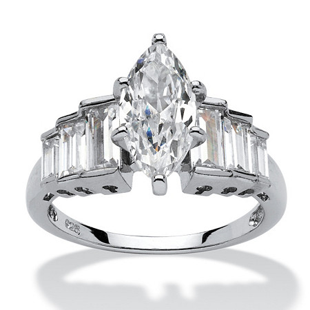 3.82 TCW Marquise-Cut Cubic Zirconia Platinum over Sterling Silver Ring at PalmBeach Jewelry