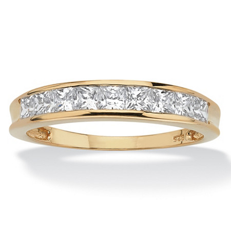 18K Yellow Gold over Sterling Silver Princess Cut Cubic Zirconia Channel Set Wedding Band Ring at Direct Charge presents PalmBeach