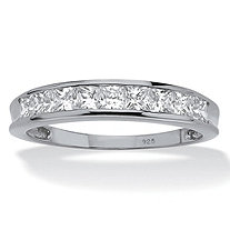 SETA JEWELRY .81 TCW Princess-Cut Cubic Zirconia Anniversary Ring in Platinum over Sterling Silver