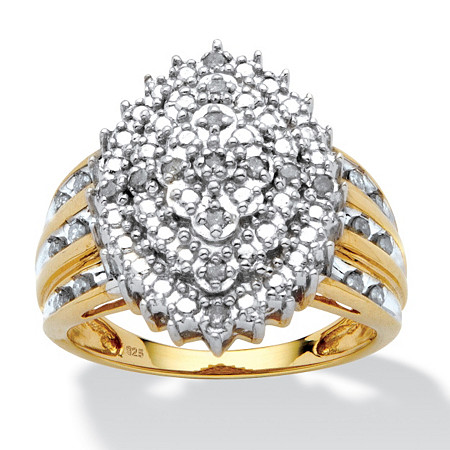 1/3 TCW Round Diamond Marquise-Shaped Cluster Ring in 18k Gold over Sterling Silver at PalmBeach Jewelry