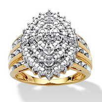 1/3 TCW Round Diamond Marquise-Shaped Cluster Ring in 18k Gold over Sterling Silver