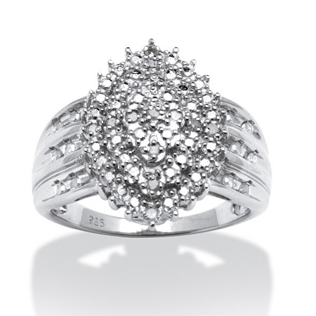 1/3 TCW Round Diamond Platinum over Sterling Silver Marquise-Shaped Cluster Ring at PalmBeach Jewelry