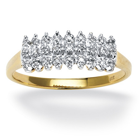 1/7 TCW Round Diamond Peak Ring in 18k Yellow Gold over Sterling Silver at PalmBeach Jewelry