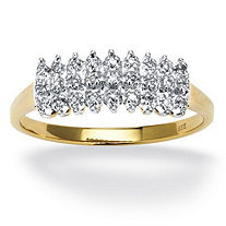 SETA JEWELRY 1/7 TCW Round Diamond Peak Ring in 18k Yellow Gold over Sterling Silver