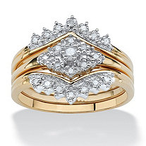 1/4 TCW Diamond 18k Gold over Sterling Silver 3-Piece Bridal Engagement Wedding Ring Set