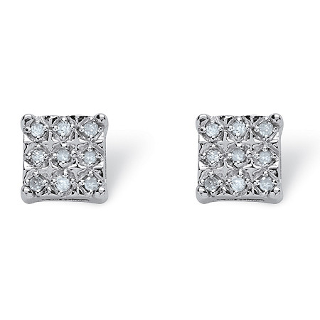 1/6 TCW Round Diamond  Square-Shaped Stud Earrings in Platinum over Sterling Silver at PalmBeach Jewelry