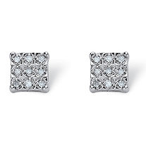 1/7 TCW Round Diamond Square-Shaped Stud Earrings in Platinum over Sterling Silver