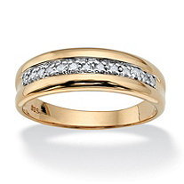 SETA JEWELRY Men's 1/5 TCW Diamond Band in 18k Gold over Sterling Silver