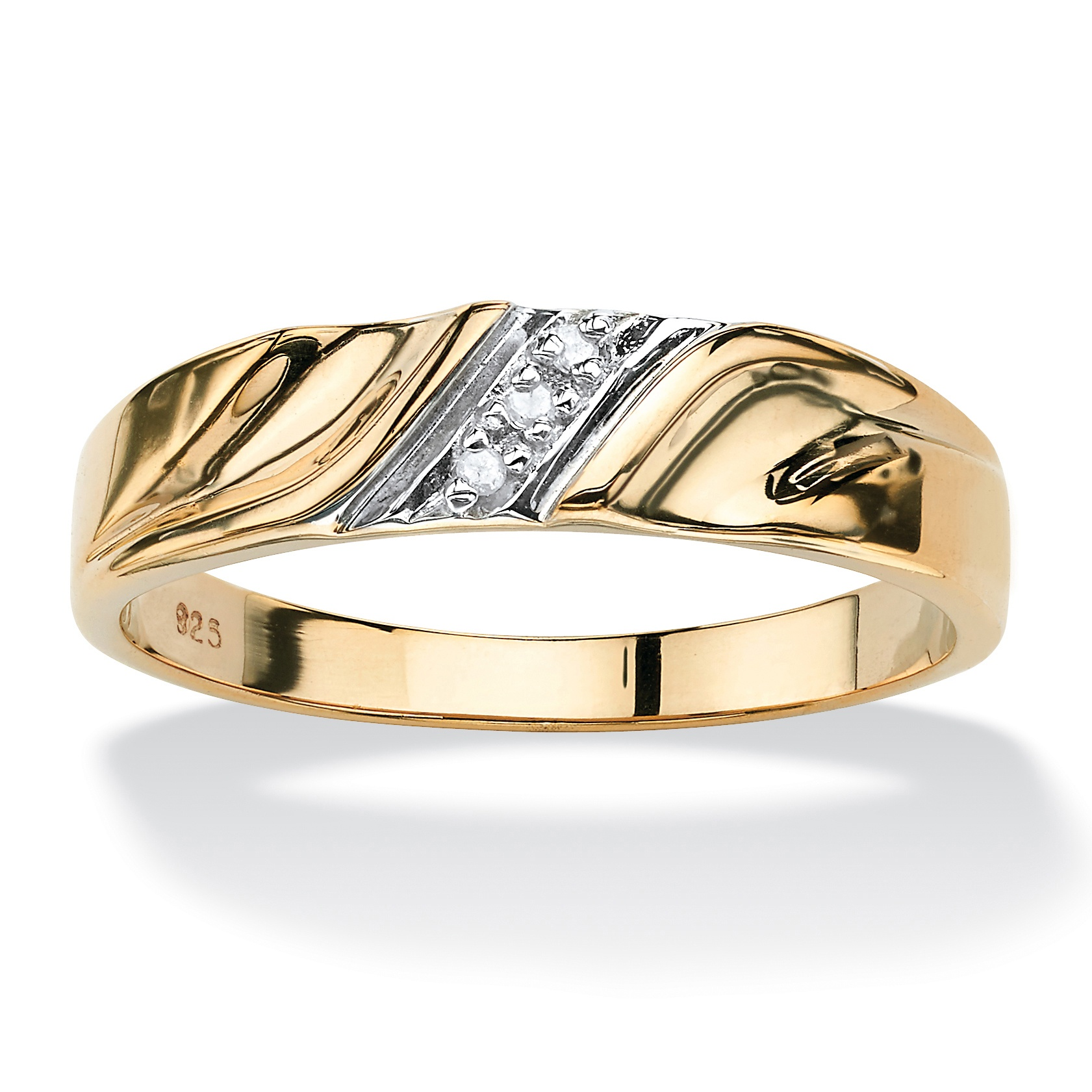 Men S Diamond Accent 18k Gold Over Sterling Silver