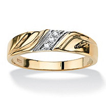 SETA JEWELRY Men's Diamond Accent 18k Gold over Sterling Silver Diagonal Wedding Band Ring