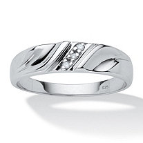 SETA JEWELRY Men's Diamond Accent Platinum over Sterling Silver Diagonal-Set Wedding Band