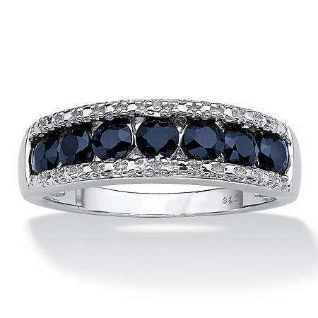 1.05 TCW Genuine Round Blue Sapphire and Diamond Accent Ring in Platinum over Sterling Silver at PalmBeach Jewelry