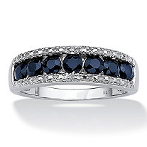 1.05 TCW Genuine Round Blue Sapphire and Diamond Accent Ring in Platinum over Sterling Silver