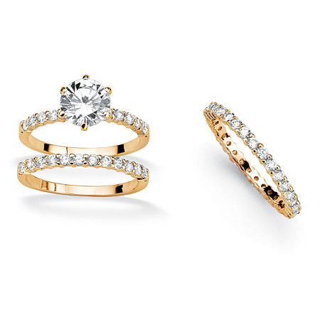 3.75 TCW Round Cubic Zirconia 14k Yellow Gold-Plated Ring Set with BONUS Eternity Band at PalmBeach Jewelry