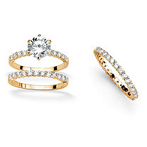 3.75 TCW Round Cubic Zirconia 14k Yellow Gold-Plated Ring Set with BONUS Eternity Band