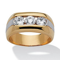 Men's 1.50 TCW Round Channel-Set Cubic Zirconia Triple-Stone Two-Tone Ring 14k Yellow Gold-Plated