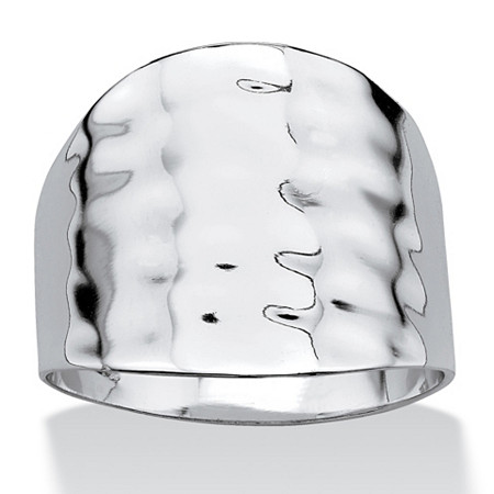Platinum-Plated Hammered-Style Cigar Band Ring at PalmBeach Jewelry