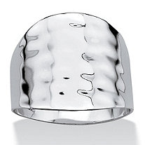 SETA JEWELRY Platinum-Plated Hammered-Style Cigar Band Ring