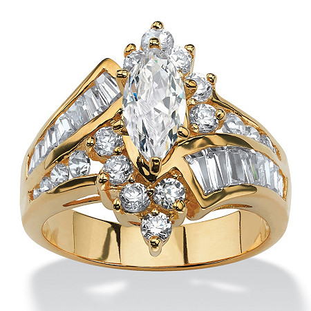 3.20 TCW Marquise-Cut Cubic Zirconia Yellow Gold-Plated Ring at PalmBeach Jewelry