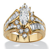 SETA JEWELRY 3.20 TCW Marquise-Cut Cubic Zirconia 14k Yellow Gold-Plated Ring