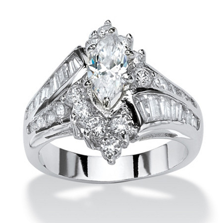 3.20 TCW Marquise-Cut Cubic Zirconia Platinum-Plated Engagement Anniversary Ring at PalmBeach Jewelry