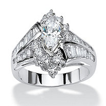 SETA JEWELRY 3.20 TCW Marquise-Cut Cubic Zirconia Platinum-Plated Engagement Anniversary Ring