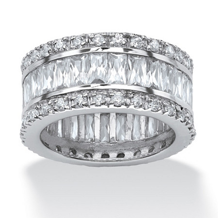 9.34 TCW Round and Emerald-Cut Cubic Zirconia Eternity Band Ring Platinum-Plated at PalmBeach Jewelry