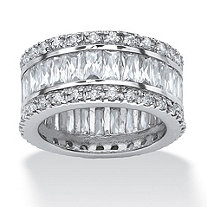 9.34 TCW Round and Emerald-Cut Cubic Zirconia Eternity Band Ring Platinum-Plated