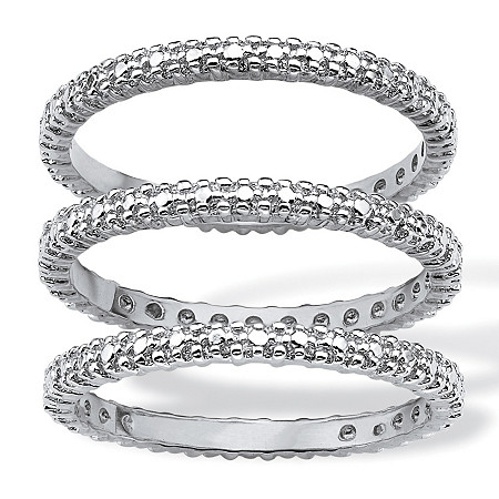 Diamond Accent Platinum-Plated 3-Piece Stackable Eternity Band Set at PalmBeach Jewelry
