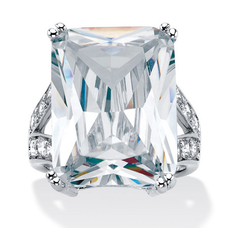 27.10 TCW Emerald-Cut Cubic Zirconia Platinum-Plated Ring at PalmBeach Jewelry