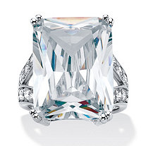 27.10 TCW Emerald-Cut Cubic Zirconia Platinum-Plated Ring