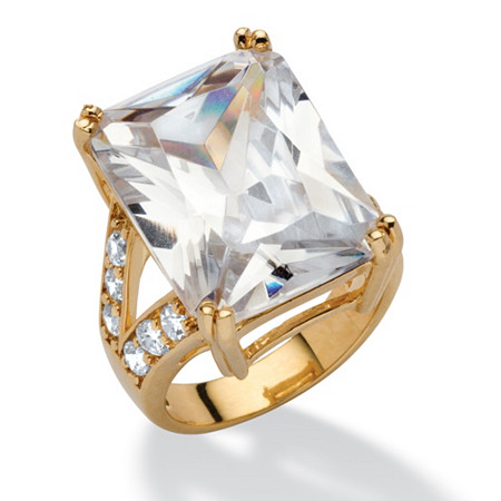 27.10 TCW Emerald-Cut Cubic Zirconia 14k Yellow Gold-Plated Ring at PalmBeach Jewelry