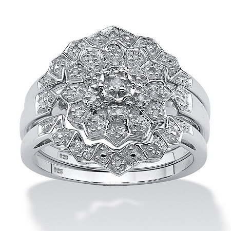 1/7 TCW Round Diamond Platinum over Sterling Silver 3-Piece Bridal Engagement Wedding Ring Set at PalmBeach Jewelry