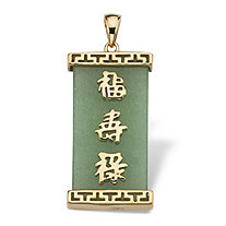 "Green Jade ""Good Luck, Prosperity & Long Life"" Pendant in Gold Tone over Sterling Silver"