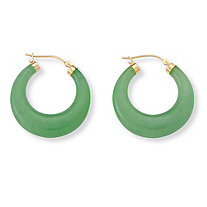 "Green Jade Hoop Earrings in 14k Yellow Gold over Sterling Silver (1"")"