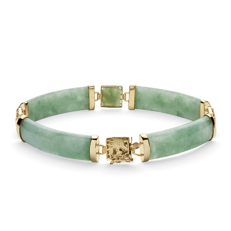 "Genuine Green Jade Dragon Link Bracelet in 14k Gold over Sterling Silver 7.25"" at PalmBeach Jewelry"