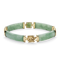 Genuine Green Jade Dragon Link Bracelet in Gold Tone over Sterling Silver 7.25""