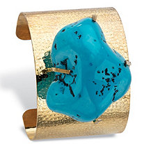 Genuine Turquoise Nugget Hammered Cuff Bracelet in Yellow Gold Tone