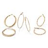 Related Item 3 Pair Hoop Earrings Set in Yellow Gold Tone (2 1/3
