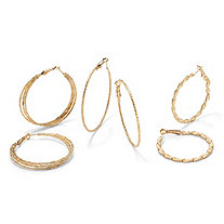 "3 Pair Hoop Earrings Set in Yellow Gold Tone (2 1/3"", 2"", 1 1/2"")"