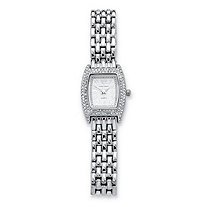 Round Crystal Bezel Accent Silvertone Panther-Link Bracelet-Watch 7 1/2