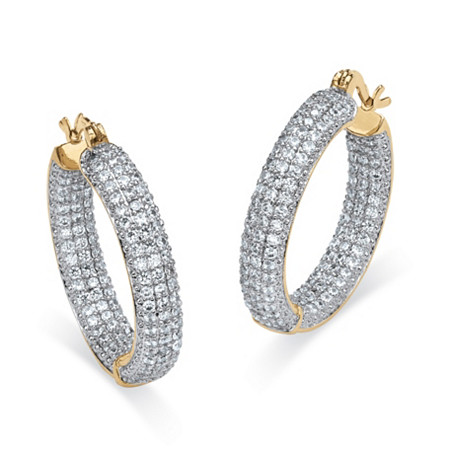 "6 TCW Round Cubic Zirconia 14k Gold-Plated Inside-Out Hoop Earrings (1 1/3"") at PalmBeach Jewelry"