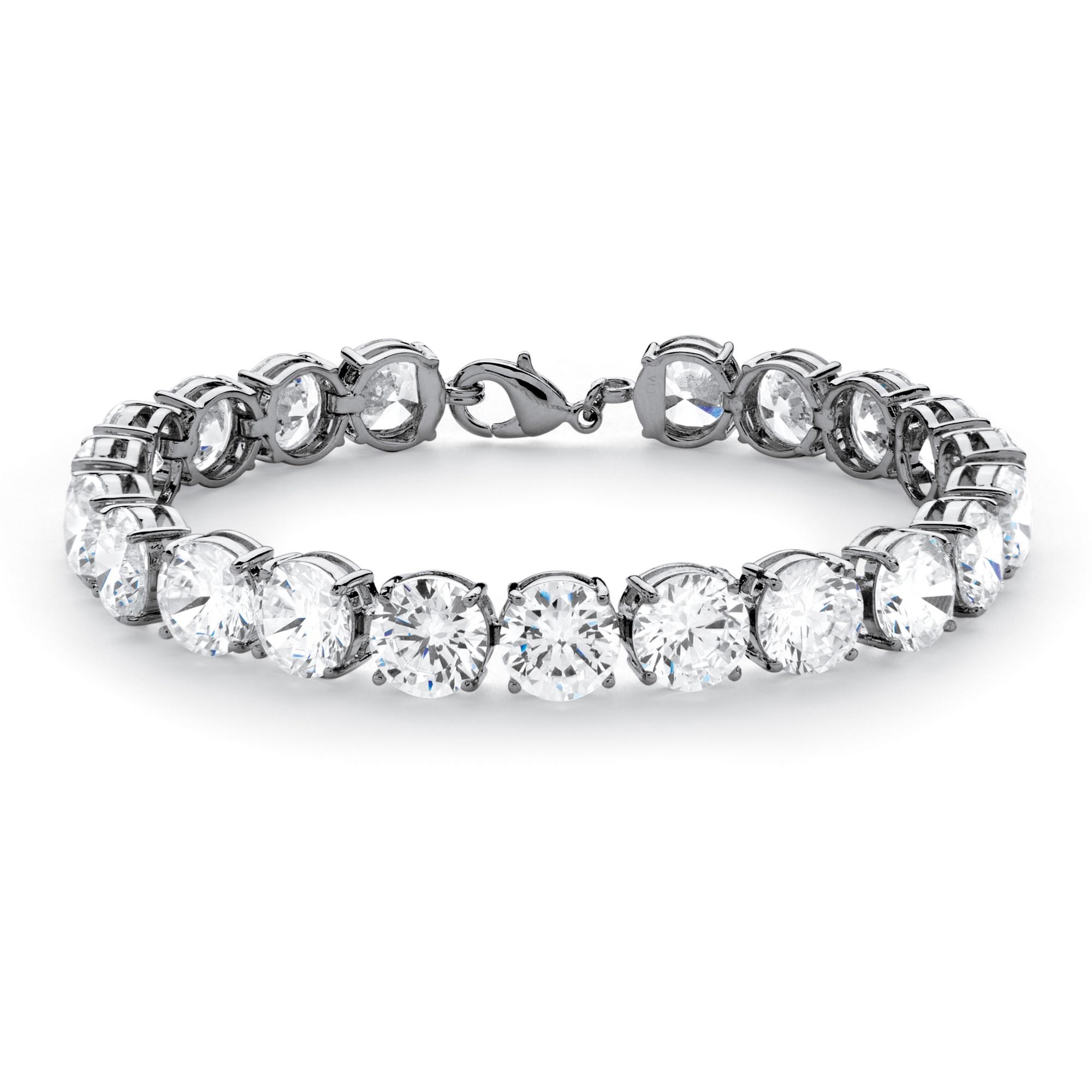 "42.00 TCW Round Cubic Zirconia Platinum Plated Tennis Bracelet 7 1/4"" at PalmBeach Jewelry"