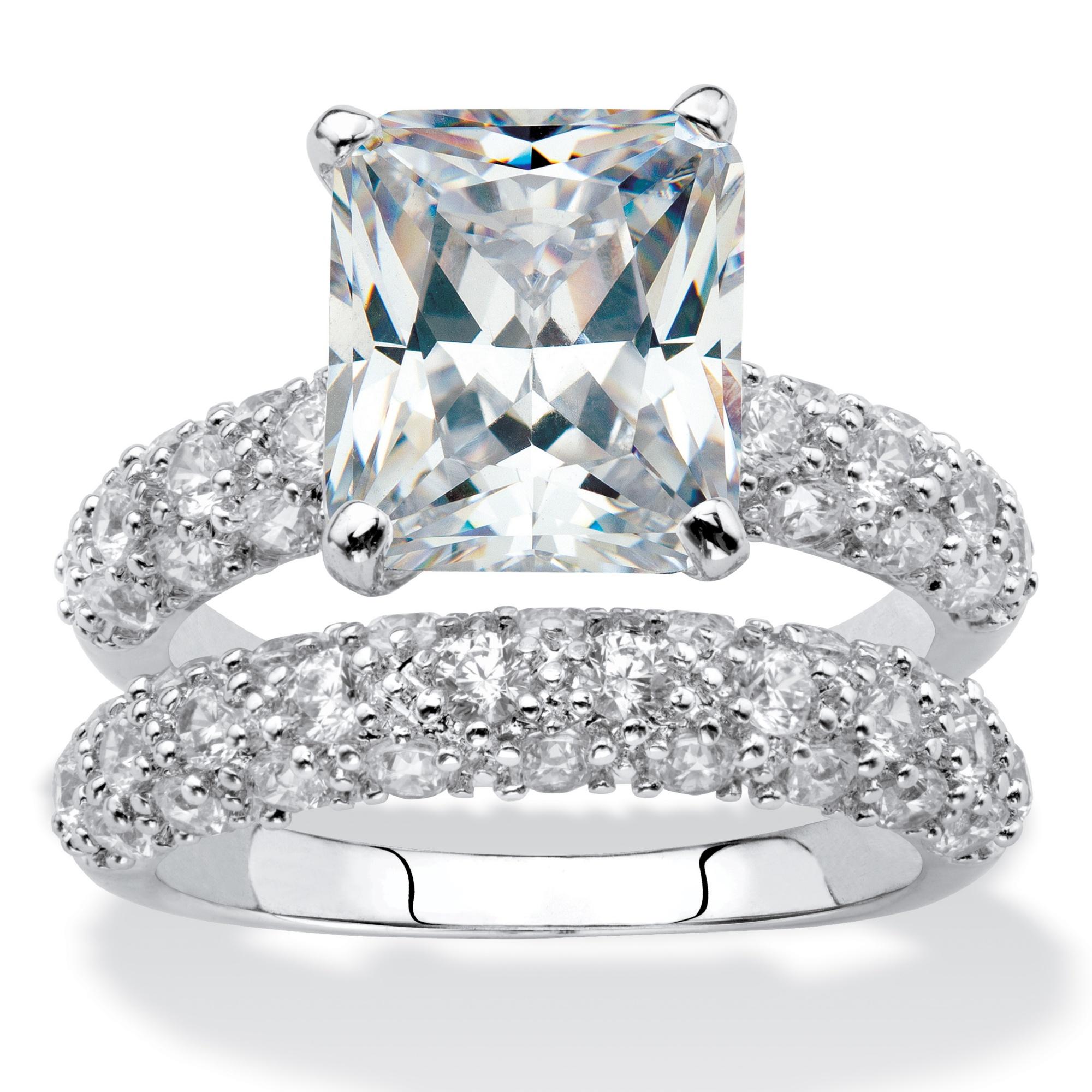 6 50 Tcw Emerald Cut Cubic Zirconia Platinum Plated Bridal