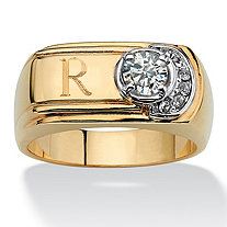 SETA JEWELRY Men's .50 TCW Round Cubic Zirconia 14k Gold-Plated Personalized I.D. Ring
